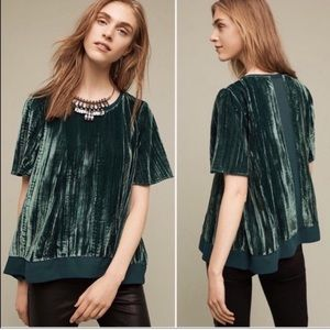 Anthropologie Maeve Green Velvet Panel Swing Top